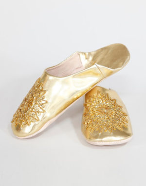 Moroccan ladies slippers Gold