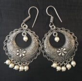 Ethnic Silver Drop Earrings